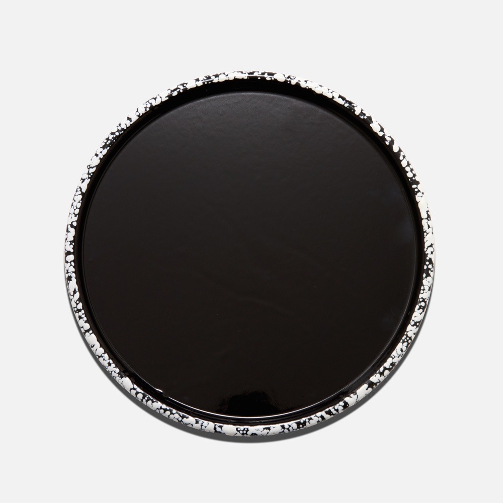 Splattered Enamel Tray Black