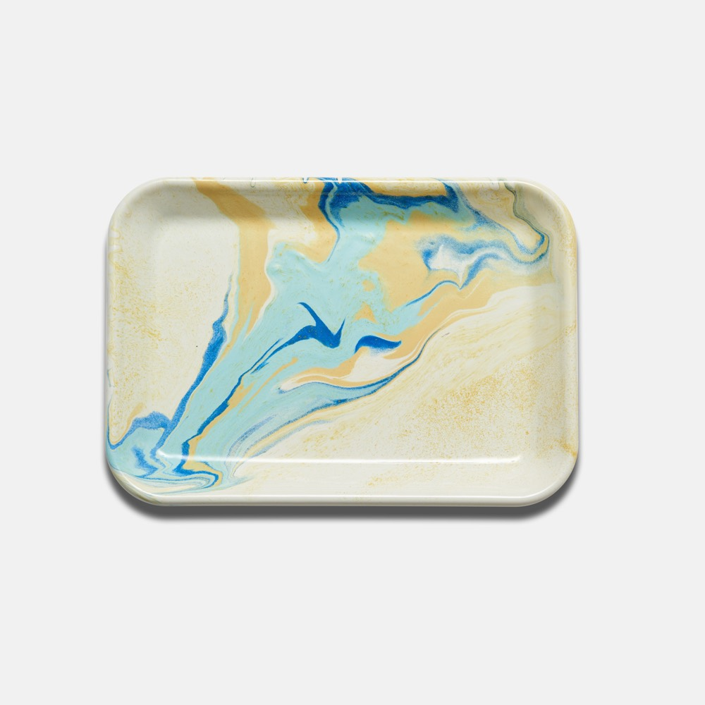 Enamel Rectangular Tray Lemon