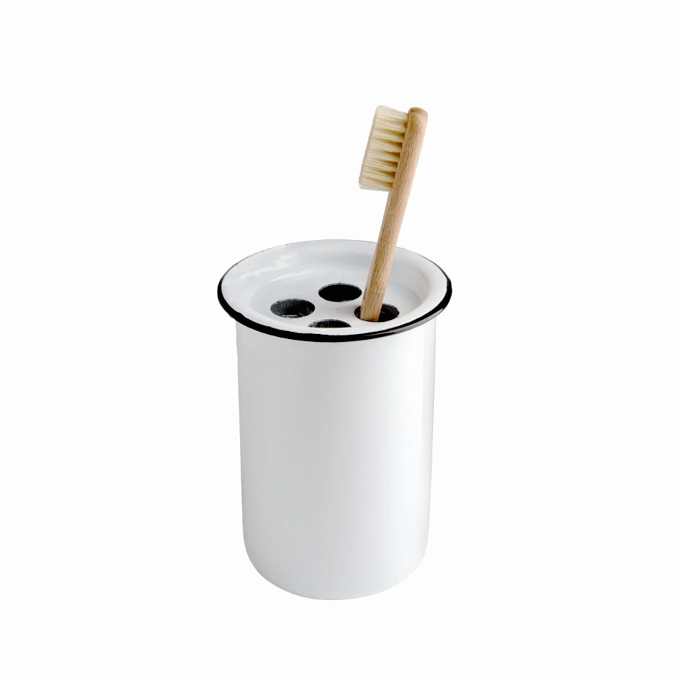 Enamel White Toothbrush Holder