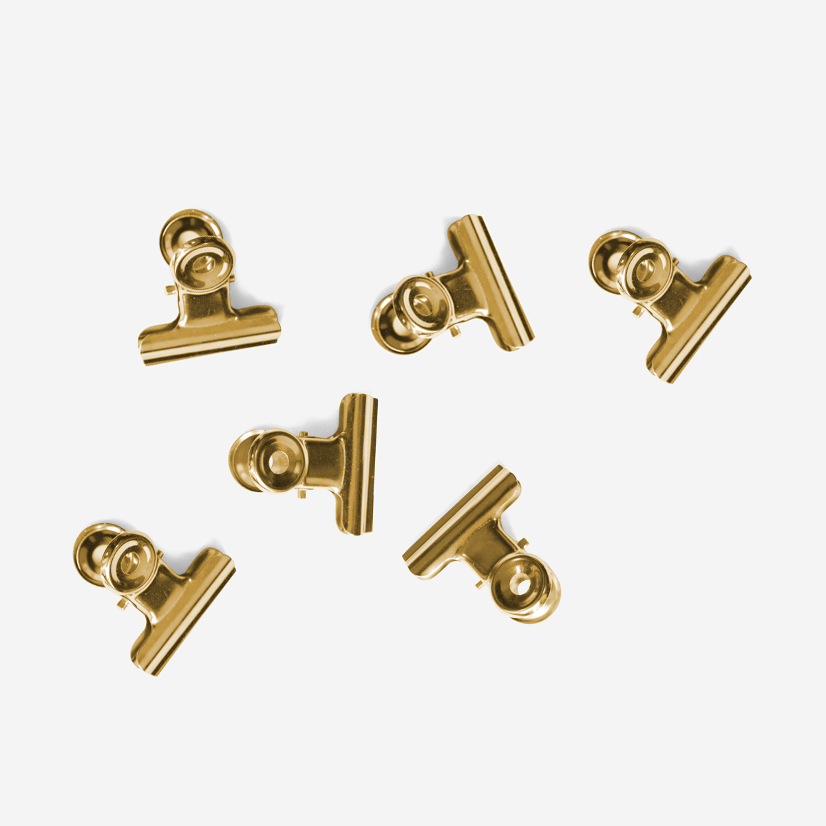 Mini Bulldog Clip Gold x6