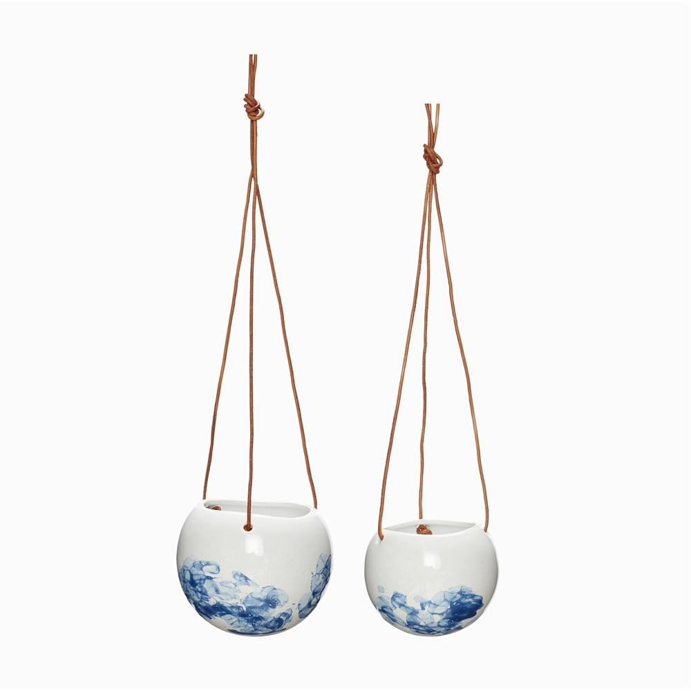 Ceramic Hanging Pot White-Blue
