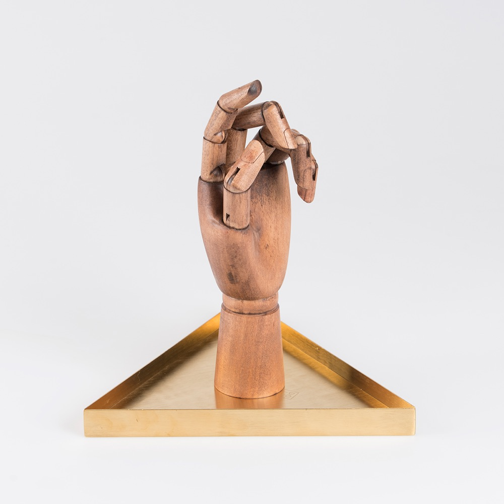 Wooden Hand on Brass Tray
