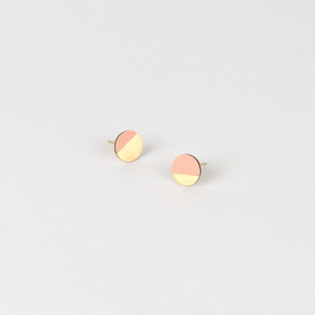 Form Circle Earrings Brass & Blush