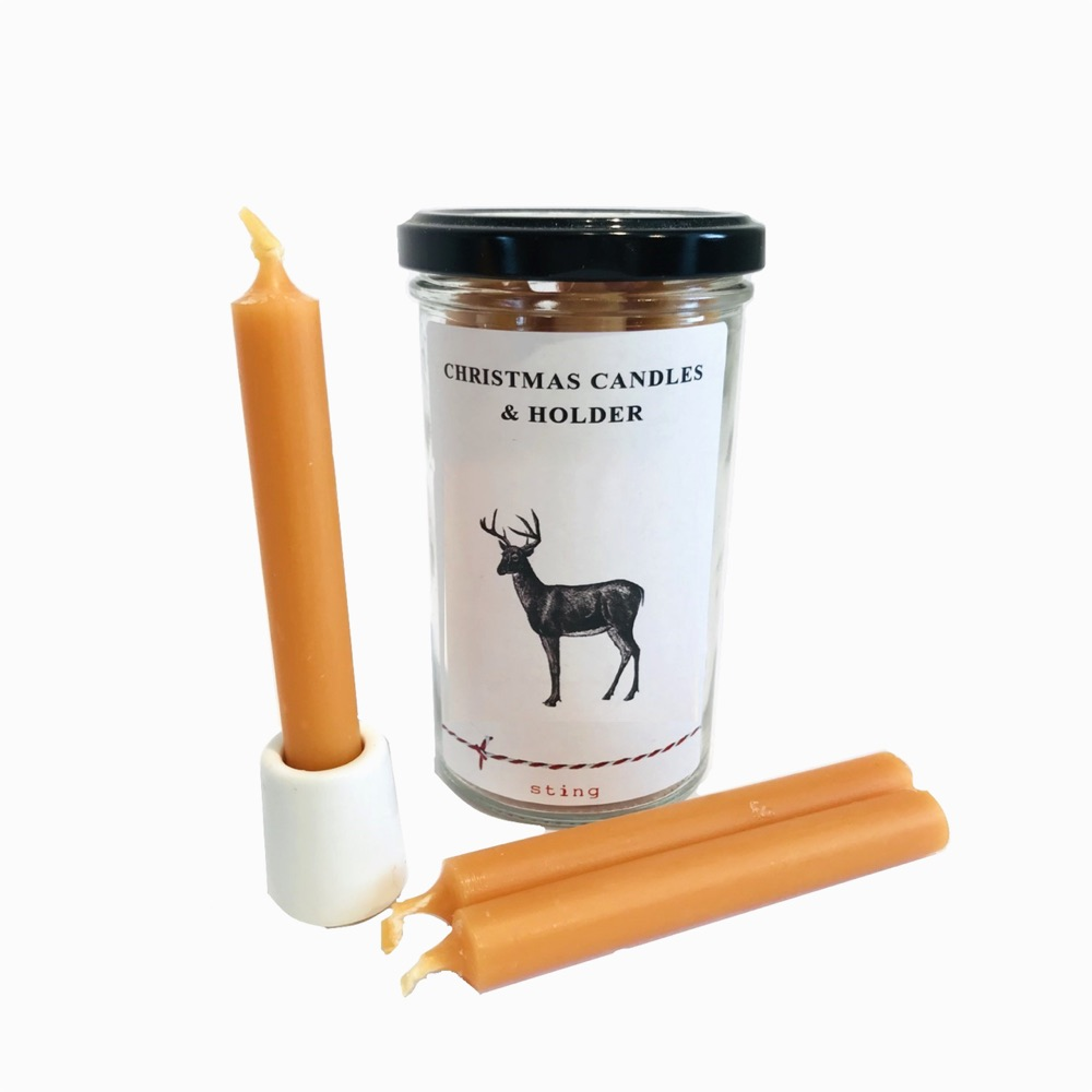 Beeswax Christmas Candles with holder