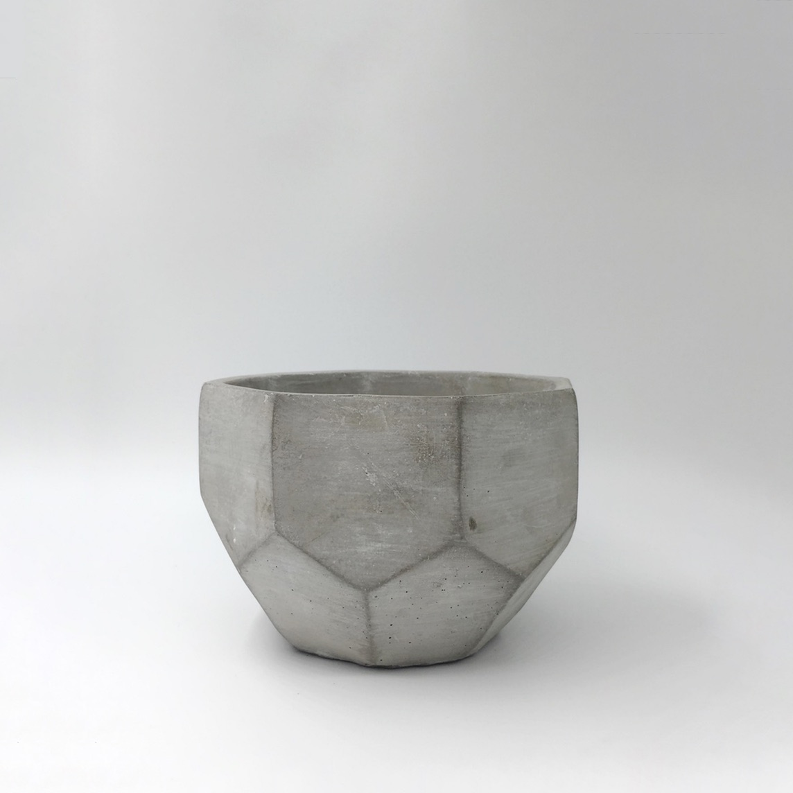 Cement Faceted Pot Mini