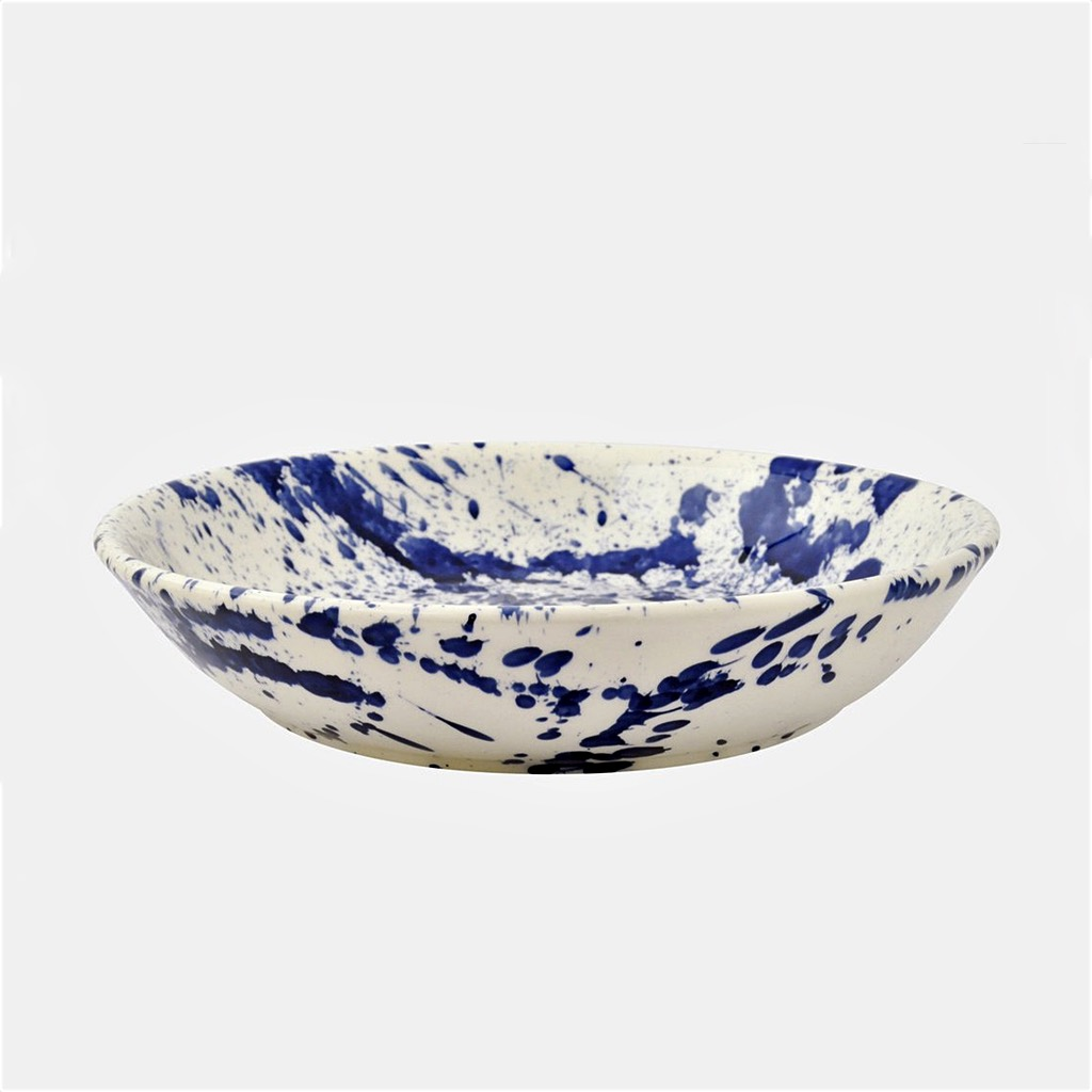 Blue Splatter Pasta Bowl