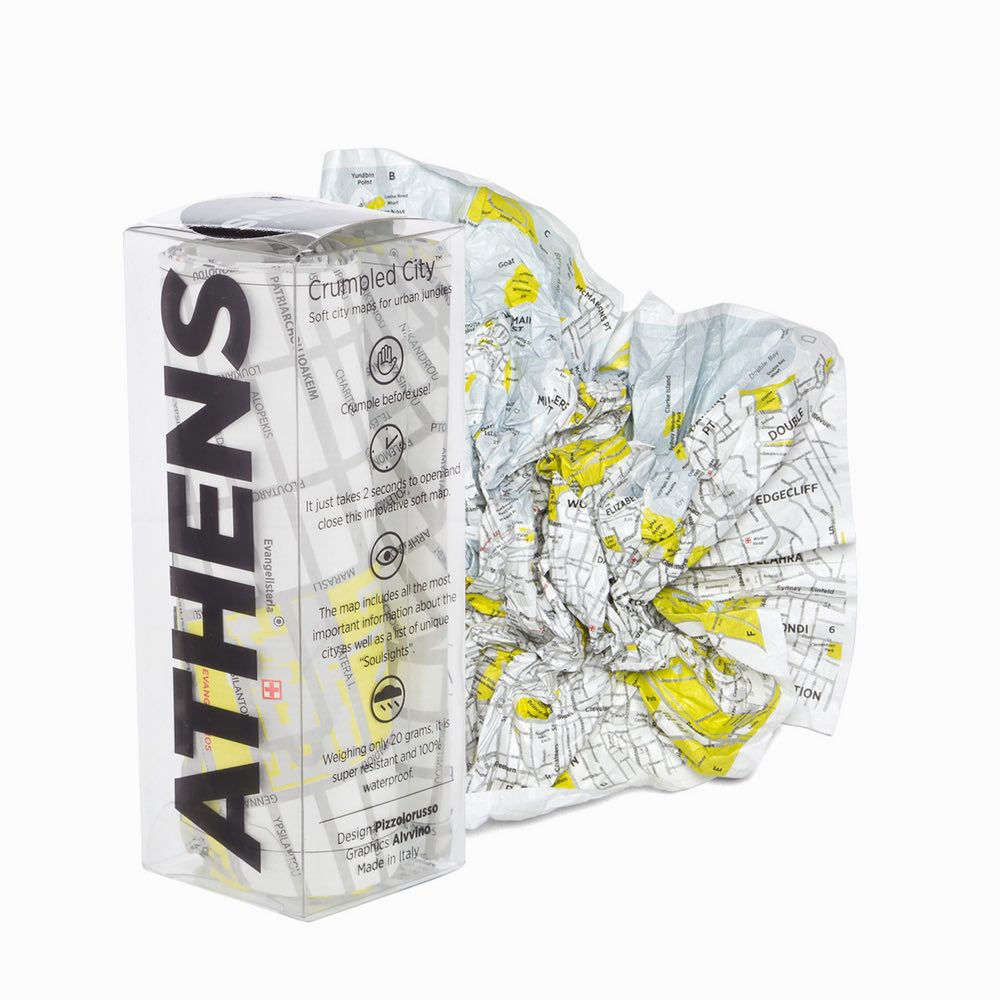Crumpled City Map – Athens