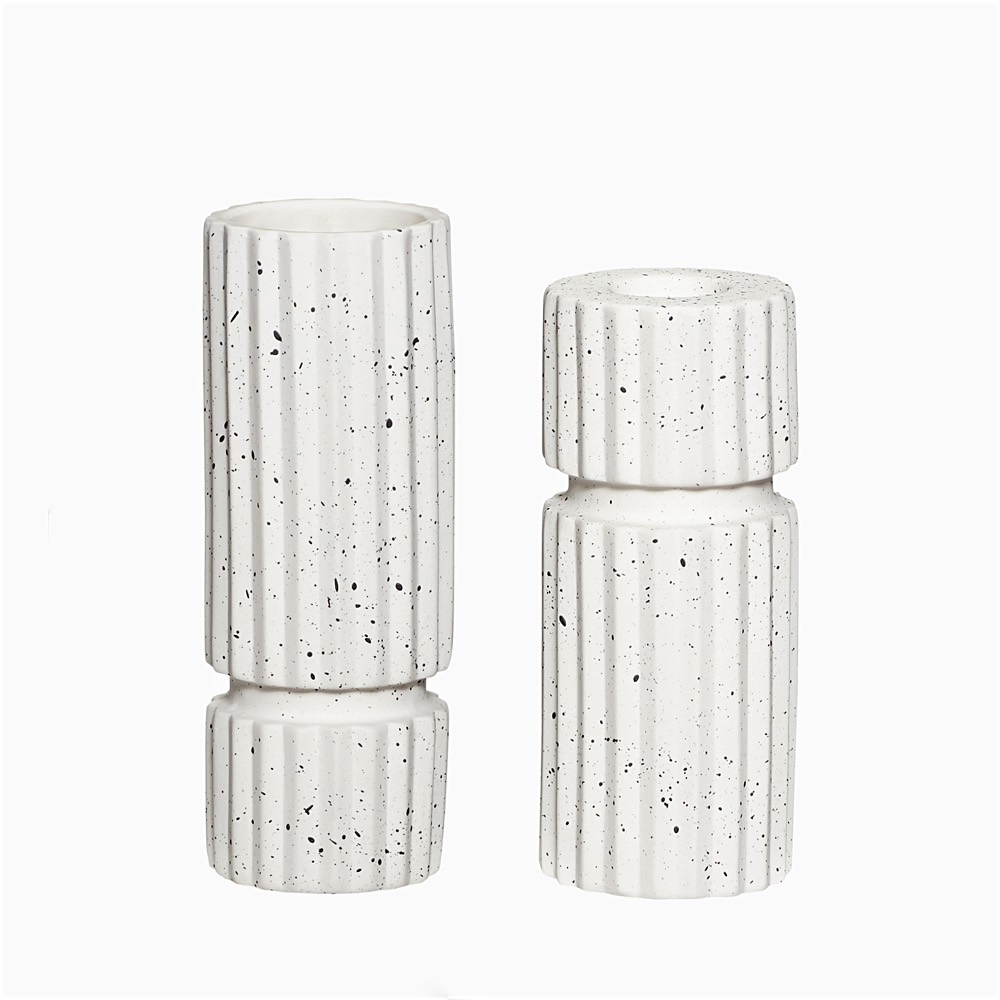 Speckled Candlestick & Vase Set
