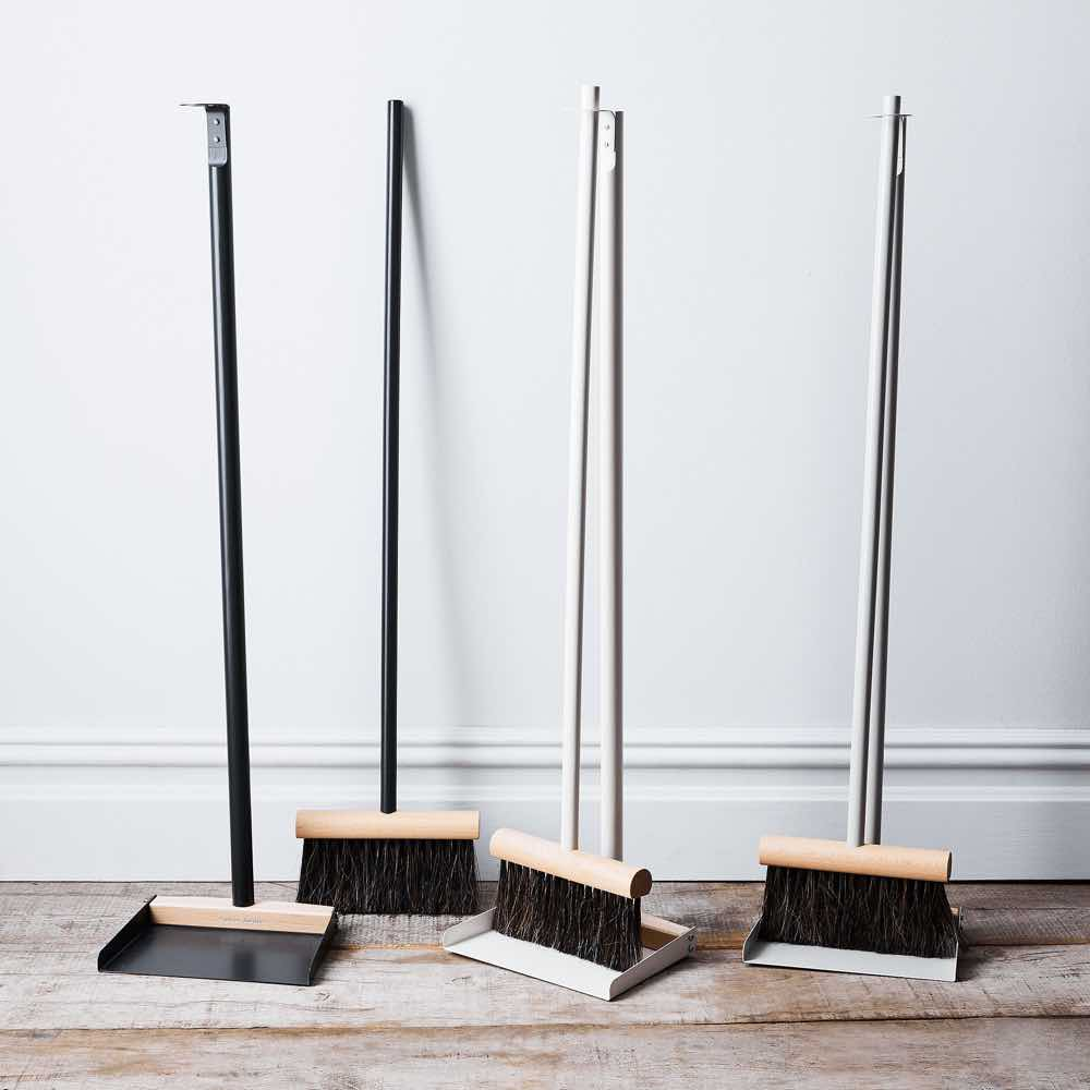 Standing Broom & Dustpan Set Black