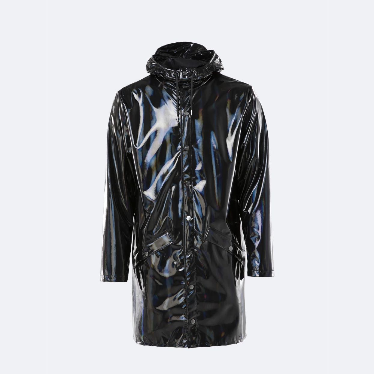 Rains Long Jacket Holographic Black